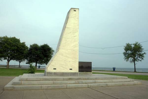 The empty Christopher Columbus memorial at Seaside Park, in Bridgeport, Conn. July 6, 2020. The state of Columbus was removed from the memorial on Monday.