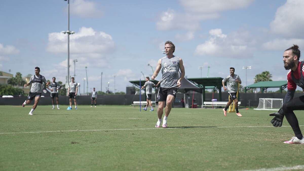 Midfielder Jackson Yueill (center) trains in Orlando, where the San Jose Earthquakes have been preparing since June 24 for the MLS is Back Tournament. Their first game is scheduled for Friday against the Seattle Sounders.
