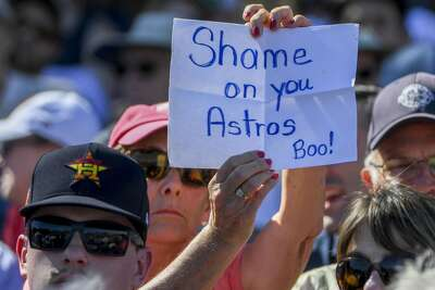 WEST PALM BEACH, FL - FEBRUARY 23 a fan holds a sign during spring training action between the Houston Astros and Washington Nationals at the Ballpark of the Palm Beaches. (Photo by Jonathan Newton / The Washington Post via Getty Images)