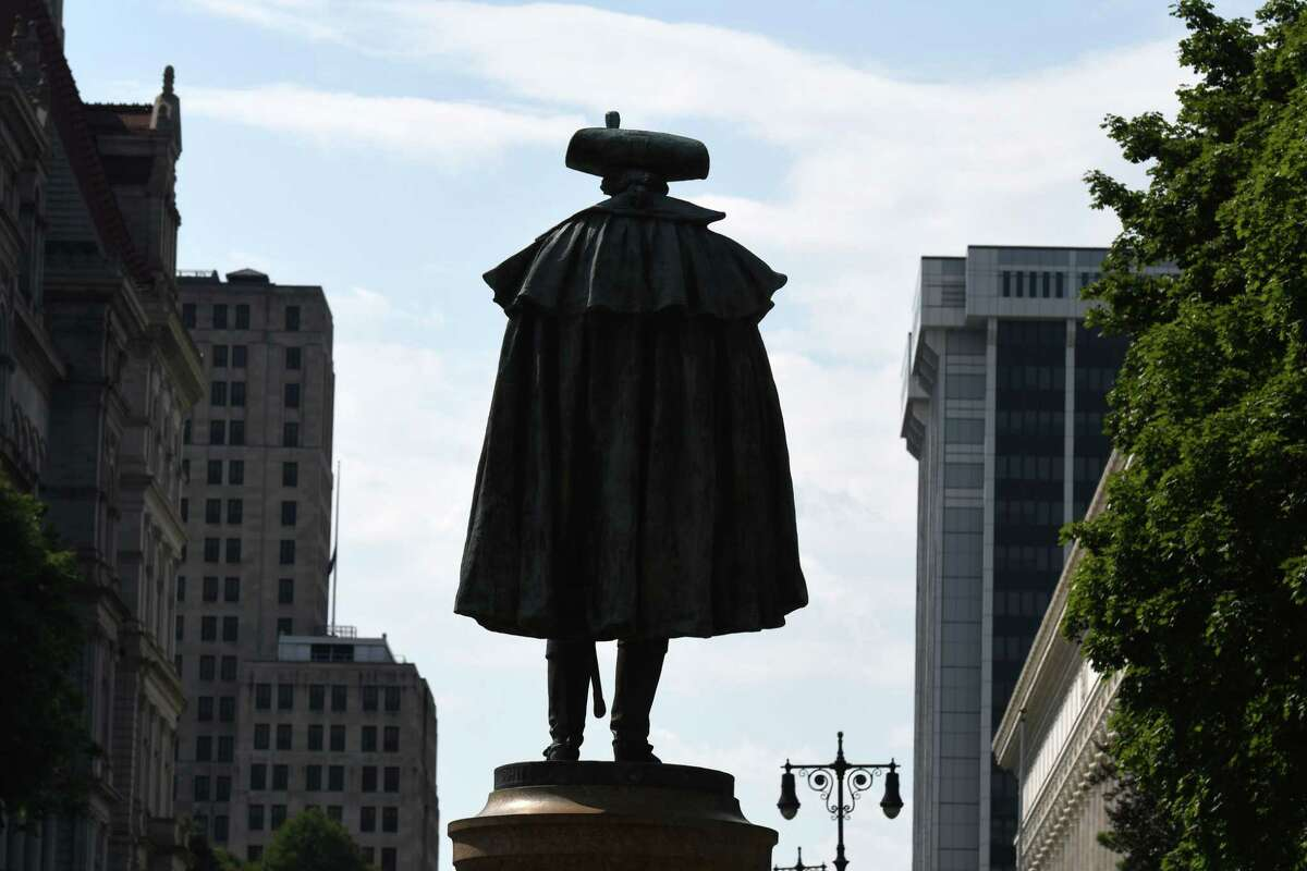 A statue of Gen. Philip Schuyler sits outside Albany City Hall on Thursday, July 2, 2020, in Albany, N.Y. Mayor Kathy Sheehan has pledged to remove the monument of a former Albany slave owner. (Will Waldron/Times Union)