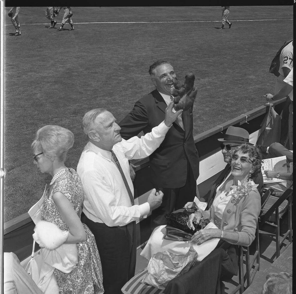 Casey Stengel and Mayor George Christopher at the 1961 All-Star game at Candlestick Park Stengel would throw out the first pitch