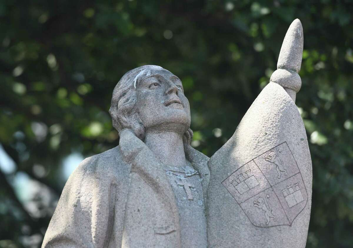 The statue of Christopher Columbus at Columbus Park in Stamford, Conn. Sunday, July 5, 2020.