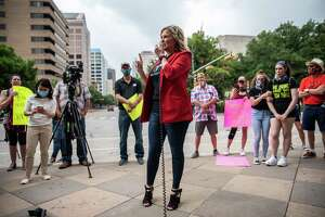 "Shelley Luther, a Dallas salon owner, speaks during a ""Bar Lives Matter"" protest in Austin, Texas, on June 30, 2020."