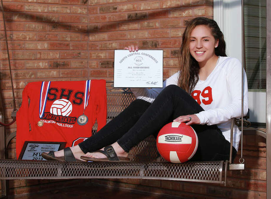 Staunton's Hollie Bekeske, who played six sports in her four years at SHS, is the 2019 Telegraph Small-Schools Volleyball Player of the Year. Photo: Billy Hurst / For The Telegraph