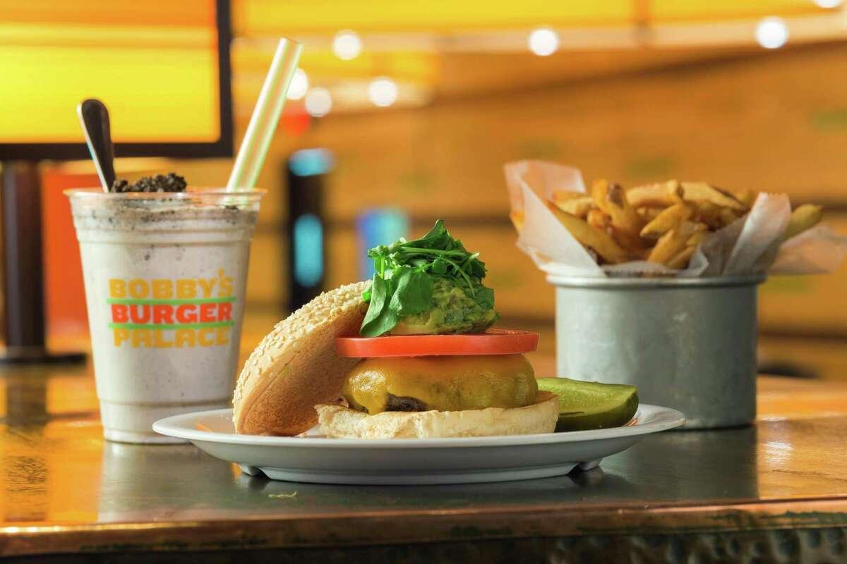 A burger meal and drink at Bobby's Burger Palace.