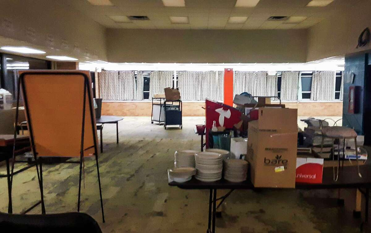 The damaged media center is shown at Windover High School, which is undergoing extensive repairs after the May flooding in hopes of being open in time for the first day of the fall semester on Aug. 31. (Dan Chalk/chalk@mdn.net)