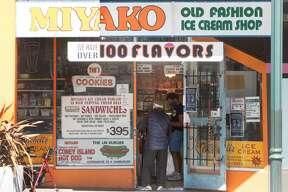 Customers shop inside Miyako Ice Cream. For decades Thomas Bennett, has been the proprietor of Miyako Old Fashion Ice Cream Shop in the Fillmore District of San Francisco, California.