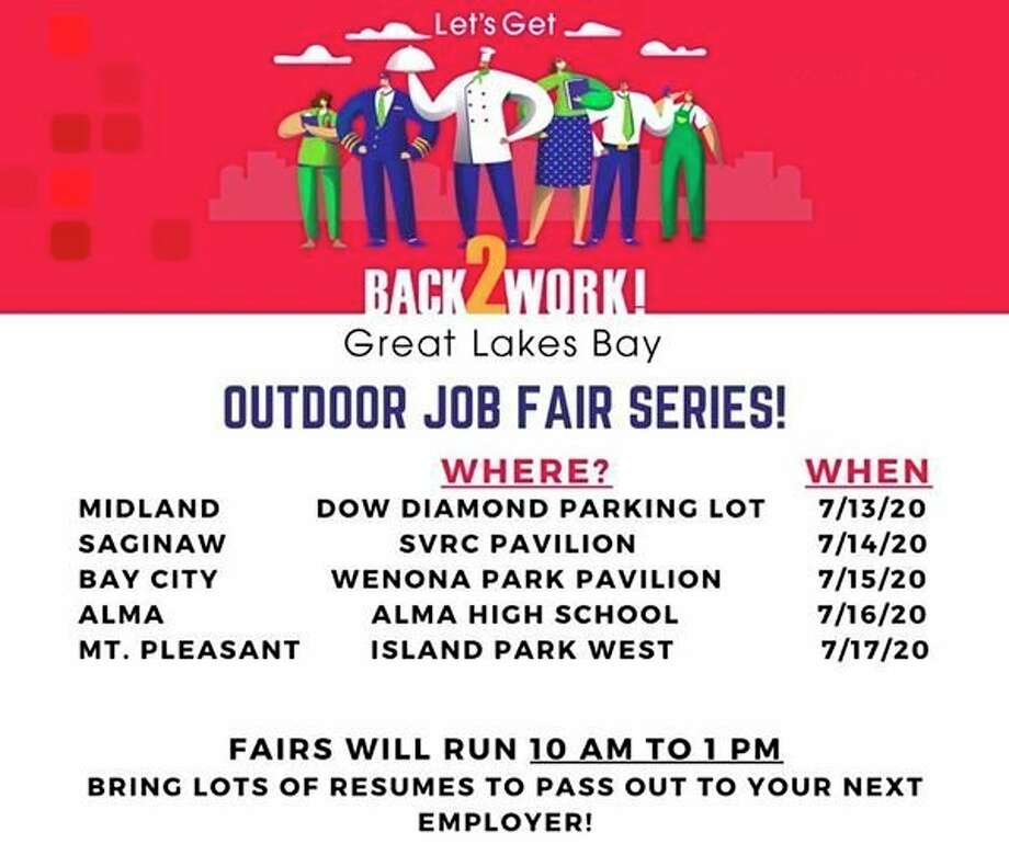 The Back2Work Job Fair - organized by Great Lakes Bay Michigan Works - will be held from 10 a.m. to 1 p.m. on Monday July 13, in the Dow Diamond parking lot. Four additional fairs will take place in different communities in the Bay region.
