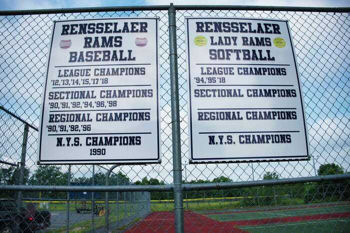A view of a sign on a fence near the athletic fields at Rensselaer High School on Wednesday, July 8, 2020, in Rensselaer, N.Y. (Paul Buckowski/Times Union)
