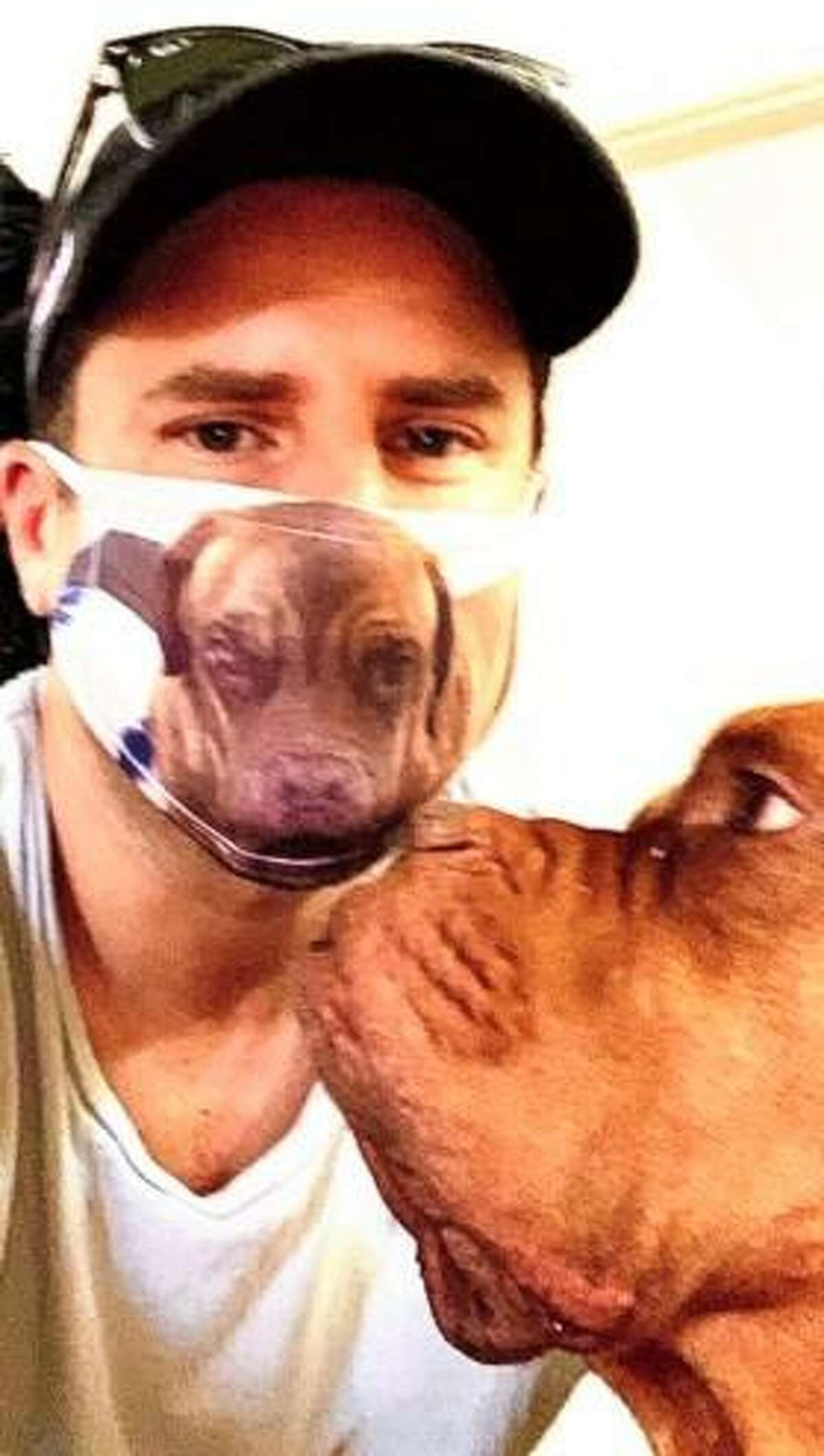 The quarantining was made more tolerable for James Roday, thanks to his rescue dog, Claude, and the mask he had made bearing his likeness.