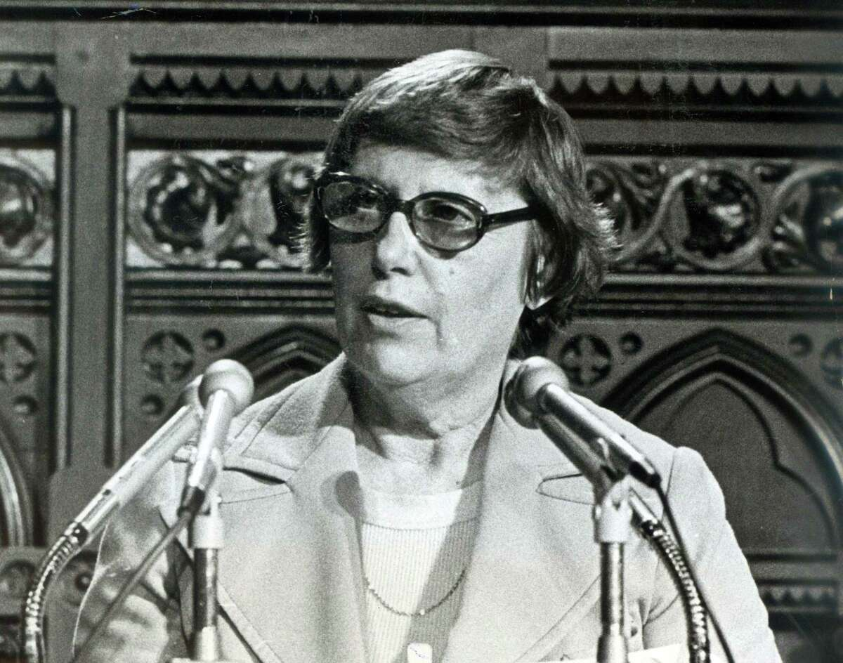 A statue of Gov. Ella Grasso, who died in 1981, if the only female among the nearly two dozen statues of white men around the State Capitol's facade.