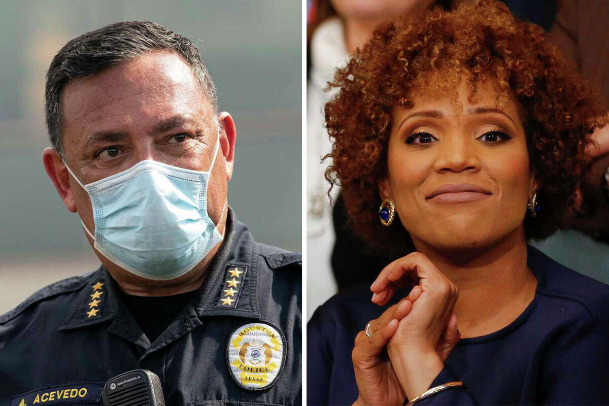 Houston Police Chief Art Acevedo and District F Council Member Tiffany Thomas are pictured together in this composite photo.