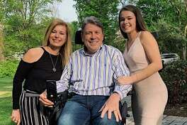 Wilton High School senior Kelsey Rhodes, right, is joined by Alison and Greg Jacobson on the occasion of her winning the Elizabeth Sternad Scholarship presented by the Wilton Woman's Club.