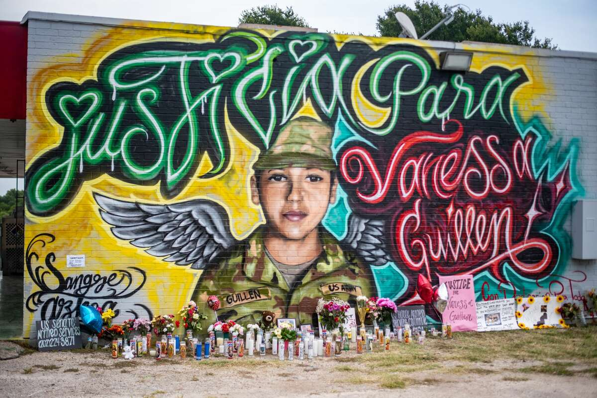 This tribute mural was created by artists Filiberto Mendieta and Arturo Silva in southeast Austin.