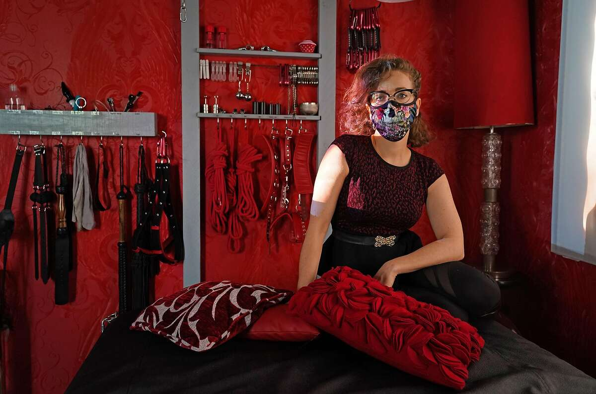 BERLIN, GERMANY - JULY 06: Kat Rix, a sex worker at the Studio Lux domina BDSM sex studio, poses for a photo in her work room during the novel coronavirus pandemic on July 06, 2020 in Berlin, Germany. Sex workers in Berlin are demanding an easing of ongoing lockdown measures that are preventing them from resuming their work. While authorities have lifted lockdown measures for most businesses in Germany, some, especially for those that involve close physical contact, remain in place. Legal sex workers claim they are being treated unfairly, claiming they have developed adequate hygienic measures to prevent the spread of the virus and point out that other businesses that require similar physical proximity, such as hair salons and tattoo parlors, have been allowed to reopen. (Photo by Sean Gallup/Getty Images) *** BESTPIX ***