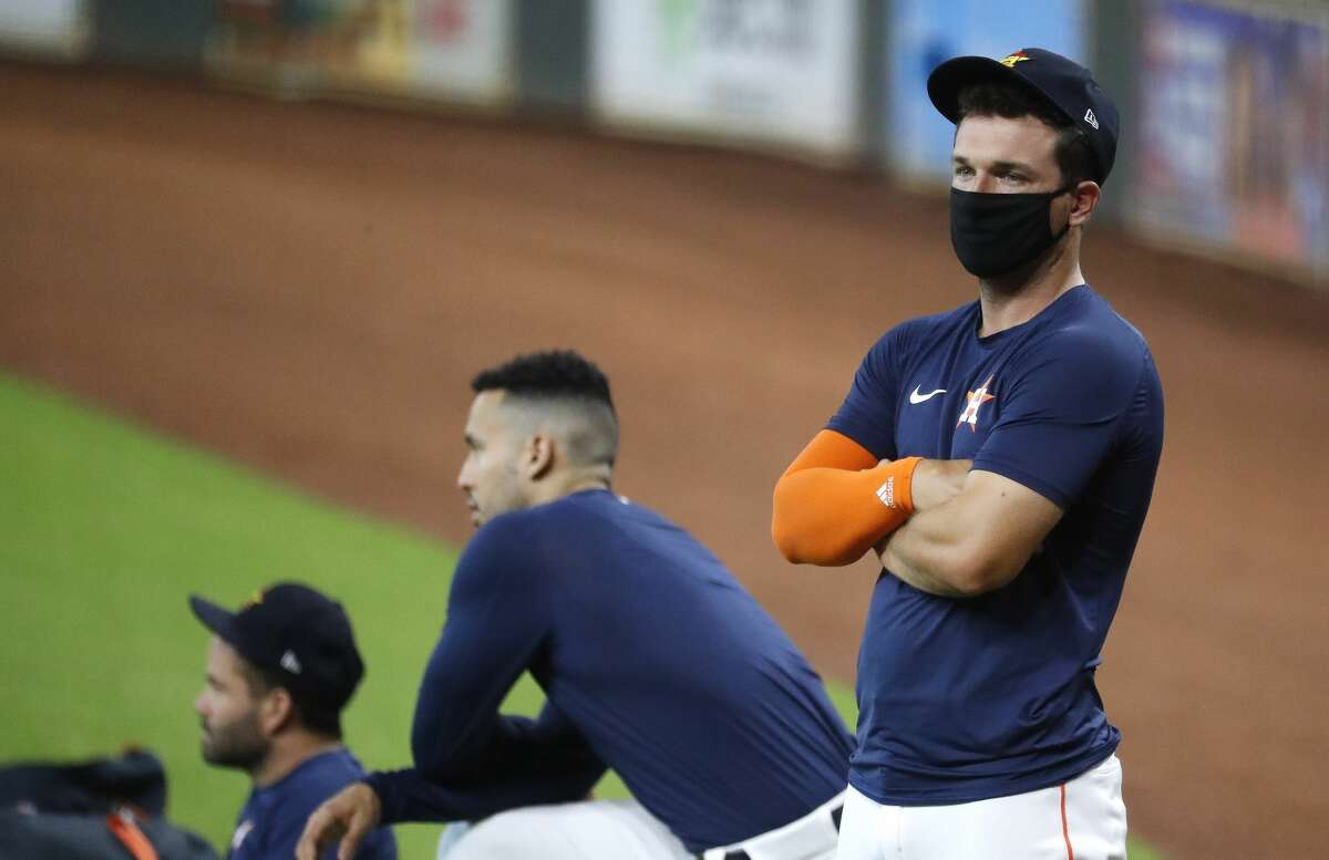 Houston Astros third baseman Alex Bregman wears a face covering during the Astros summer camp at Minute Maid Park, Saturday, July 4, 2020, in Houston.