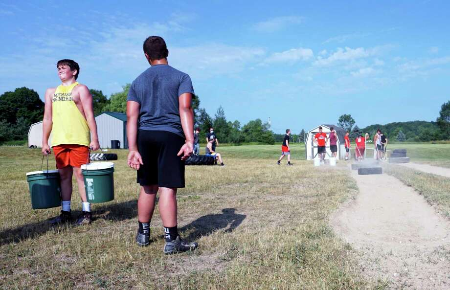 The Reed City football team has been doing anything it can to stay fit and prepared for the upcoming season. (Pioneer photo/Joe Judd)