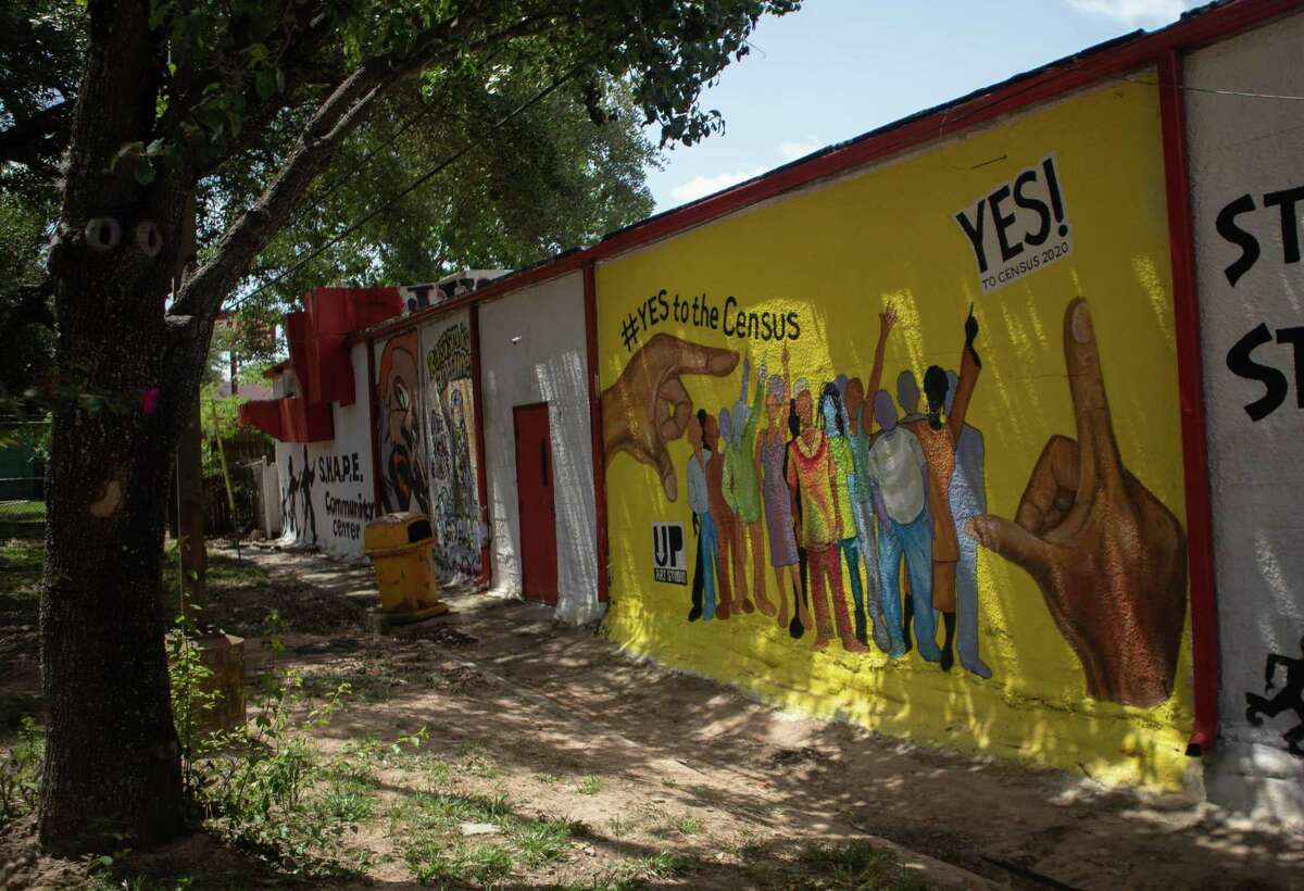 A mural painted on the side of the SHAPE Center on Live Oak St. to help encourage residents of the Third Ward to complete the Census Wednesday, July 8, 2020 in Houston. The mural was painted by Houston artist, Israel McCloud and was commissioned by the SHAPE Center with the help of Councilwoman,Carolyn Evans-Shebazz.