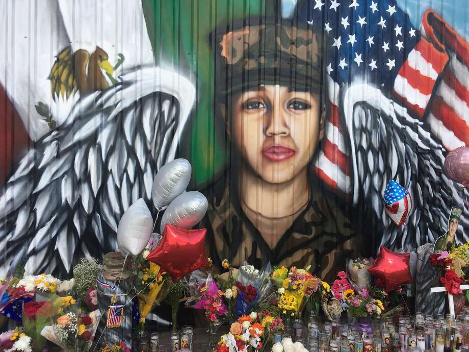 Located along the back wall of Power House Gym at 8404 Park Terrace is a tribute memorial for Spc. Vanessa Guillén created by artists Roland Saldaña and Marcos Del Bosque of Artistik Misfits. 