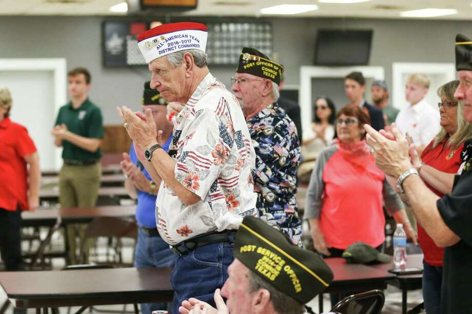 Audience members applaud during the Memorial Day ceremony on Monday, May 28, 2018, at Conroe VFW Post 4709. Photo: Michael Minasi, Staff Photographer / Houston Chronicle / © 2018 Houston Chronicle