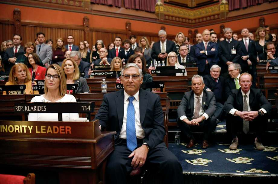 Connecticut House Minority Leader Themis Klarides, R-Derby, left, and Senate Minority Leader Len Fasano, R-North Haven, center, sit with Republicans as they listen to Gov. Ned Lamont deliver the State of the State during opening session at the State Capitol Feb. 5, 2020, in Hartford. Photo: Jessica Hill / Associated Press / Copyright 2020 The Associated Press. All rights reserved.