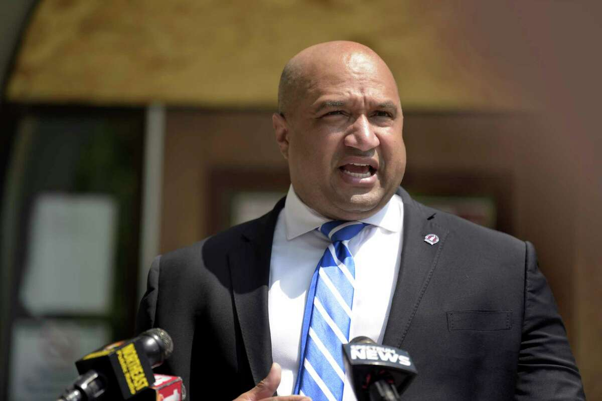 Albany County District Attorney David Soares holds a press conference to discuss the results from the Democratic primary election for Albany County District Attorney on Wednesday, July 8, 2020, in Albany, N.Y. (Paul Buckowski/Times Union)