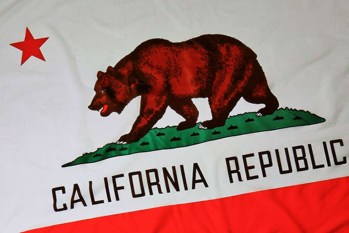 The California state flag, depicting Monarch the bear