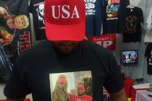 Joe Michael Perez (Joe Mike) made headlines when he put a Trump hat on the Selena statue in Corpus Christi. He turned the photo into a shirt for himself.