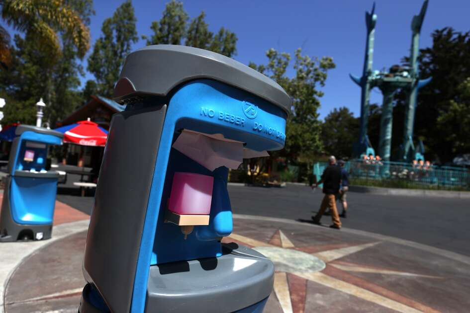 "Hand washing stations are posted for guests at Six Flags Discovery Kingdom on July 02, 2020 in Vallejo, California. Six Flags Discovery Kingdom officially reopened today after being shut down since early March due to the coronavirus COVID-19 pandemic. The theme park is reopening with an animals-only experience dubbed ""The Marine World Experience"" and will have social distancing measures in place for guests."