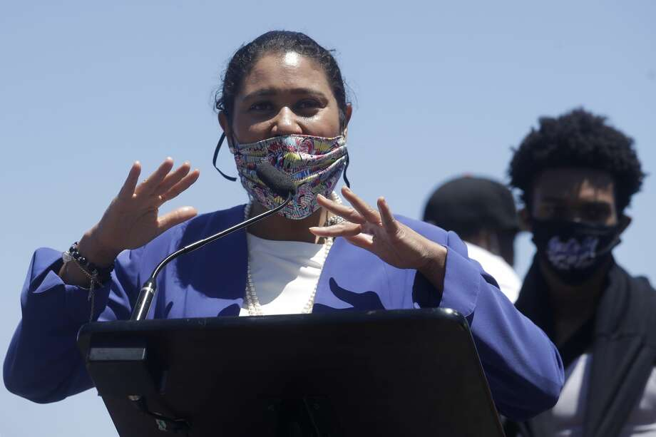 Mayor London Breed speaks at news conference about the shooting death of Jace Young in San Francisco, Tuesday, July 7, 2020. (AP Photo/Jeff Chiu) Photo: Jeff Chiu/Associated Press / Copyright 2020 The Associated Press. All rights reserved