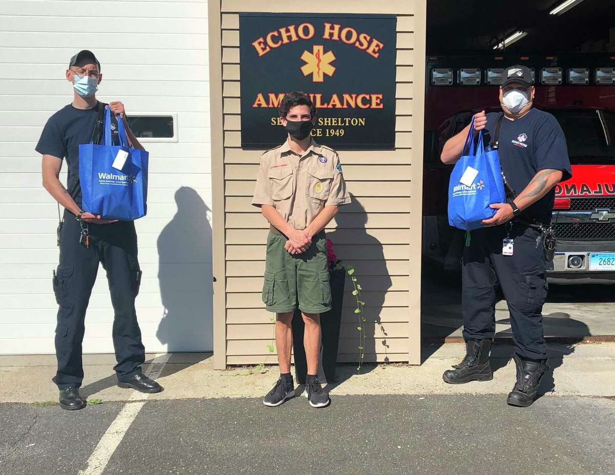 Shelton Troop 25 Scout member Joe Ciambriello recently delivered his first set of 50 care packages to the EMS first responders at Echo Hose Ambulance. Ciambriello will be collecting more items for the care packages during the Troop 25 can and bottle drive Saturday.