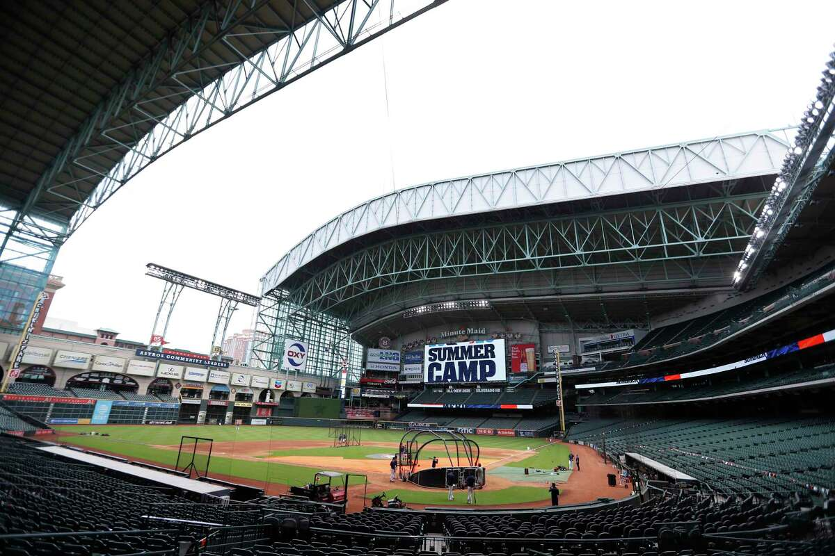 Roof was partially closed during the Astros summer camp at Minute Maid Park, Wednesday, July 8, 2020, in Houston.
