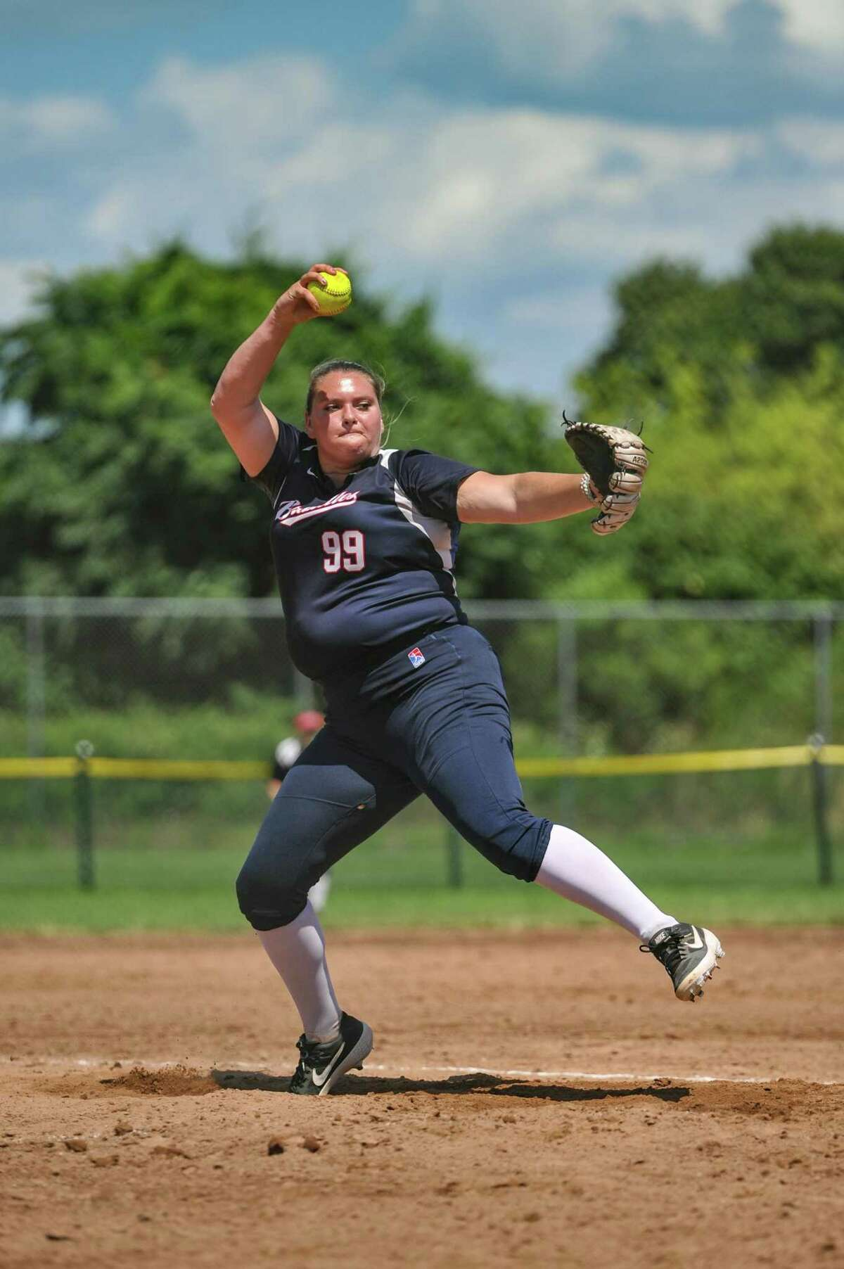 Pitcher Kaysee Talcik (99) of the Stratford Brakettes delivers a pitch during the Women's Major Fast Pitch National Championship game against the Lyon (PA) Spirit played on Sunday August 4, 2019 at Deluca Hall of Fame field in Stratford, CT.