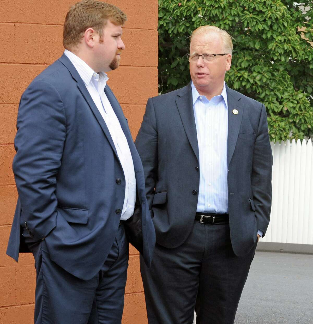 P.J. Prunty, left, executive director of the Greater Danbury Chamber of Commerce, and Danbury Mayor Mark Boughton in a 2014 file photo.