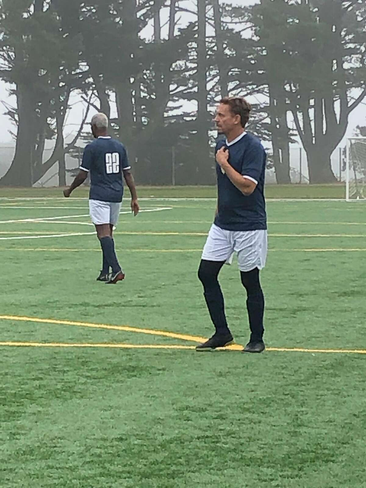 Dirk Denkers, a retired soccer player, now runs soccer tournaments for adults, like this one at Gellert Park in Daly City, Calif. on Aug. 24, 2019.