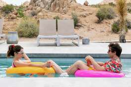 Palm Springs -- When carefree Nyles (Andy Samberg) and reluctant maid of honor Sarah (Cristin Milioti) have a chance encounter at a Palm Springs wedding, things get complicated when they find themselves unable to escape the venue, themselves, or each other. Sarah (Cristin Milioti) and Nyles (Andy Samberg), shown.