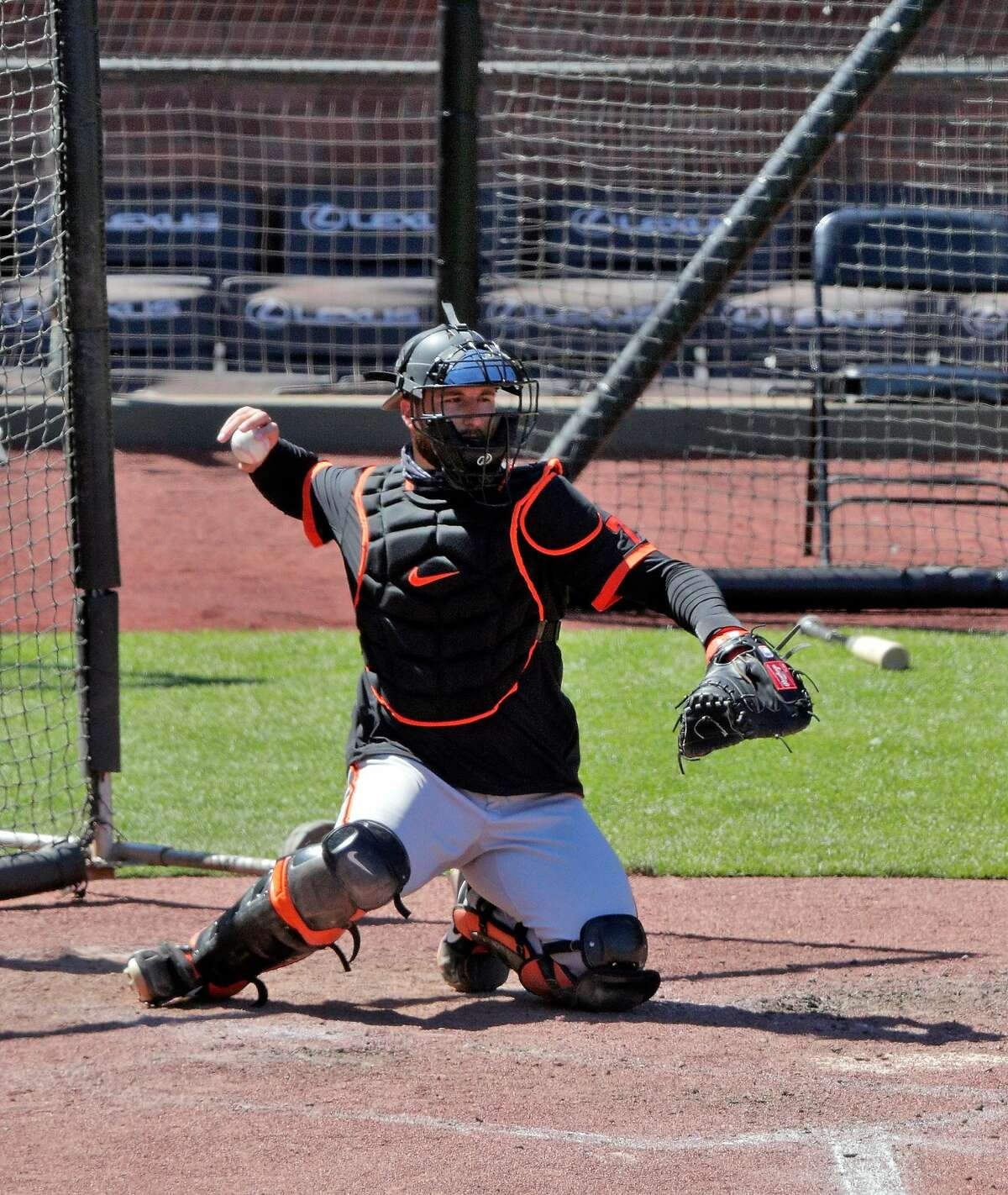 Giants catcher Joey Bart throws back to the pitcher between innings as the San Francisco Giants worked out and played a simulated game at Oracle Park in San Francisco, Calif., on Wednesday, July 8, 2020.