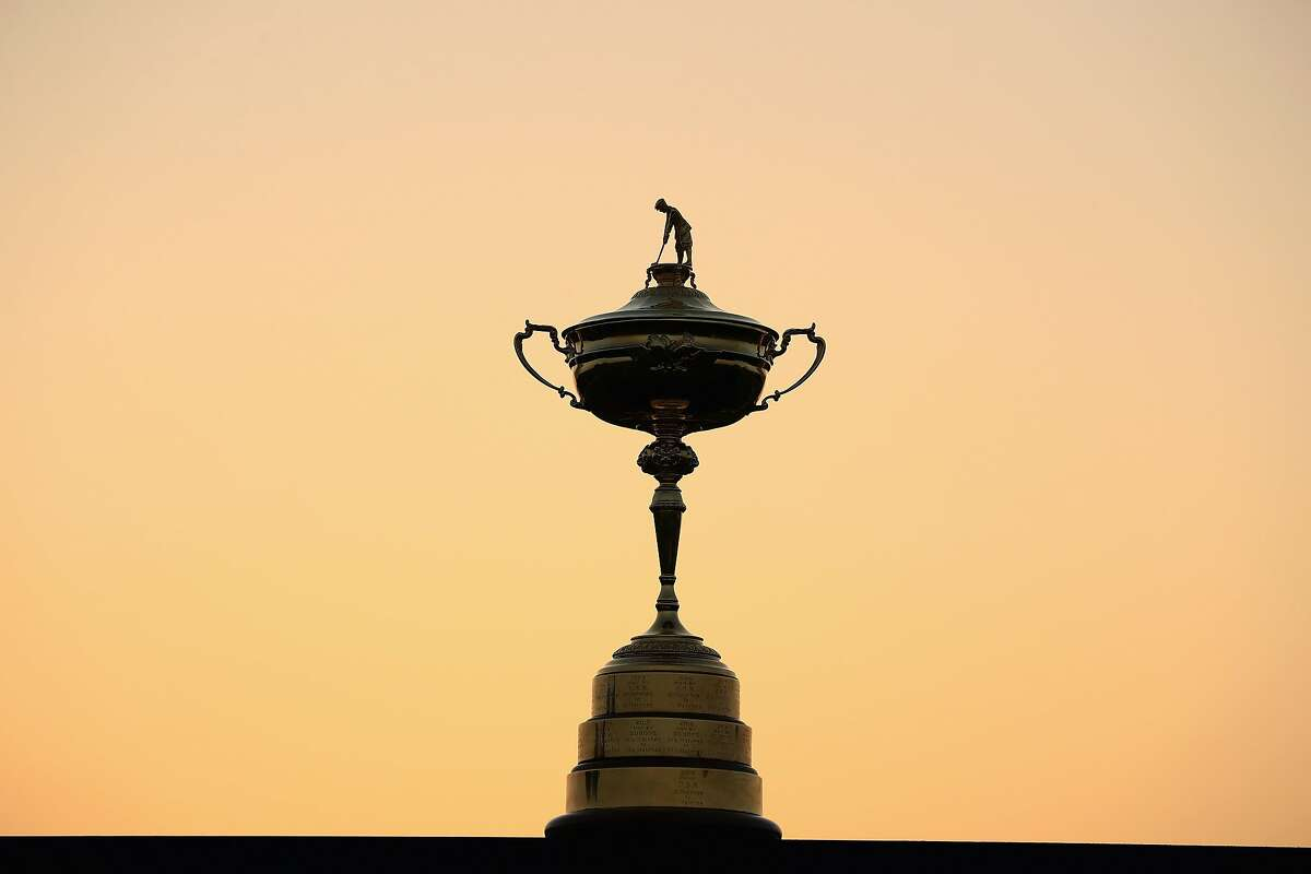 The Ryder Cup trophy is pictured in 2017 in Paris.