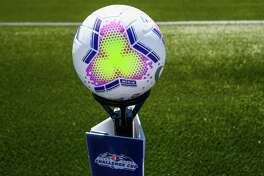 HERRIMAN, UT - JUNE 27: A detail view of a game ball before a match between the North Carolina Courage and Portland Thorns FC during the first round of the NWSL Challenge Cup at Zions Bank Stadium on June 27, 2020 in Herriman, Utah.