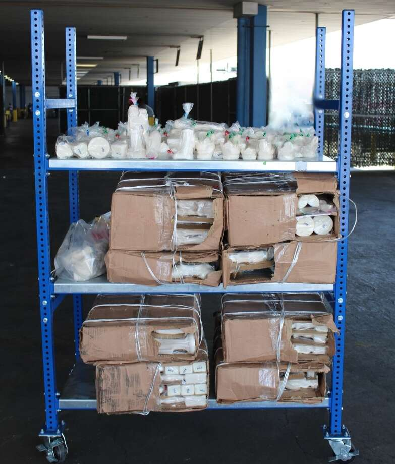 U.S. Customs and Border Protection officers said they seized these narcotics at the World Trade Bridge. Authorities said the contraband tested positive for meth and had an estimated street value of $11 million. Photo: Courtesy