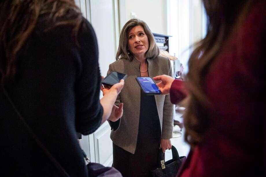 Sen. Joni Ernst, R-Iowa., speaks to reporters at the U.S. Capitol in Washington D.C. on Feb. 4, 2020. Photo: Photo For The Washington Post By Amanda Voisard. / Amanda Voisard