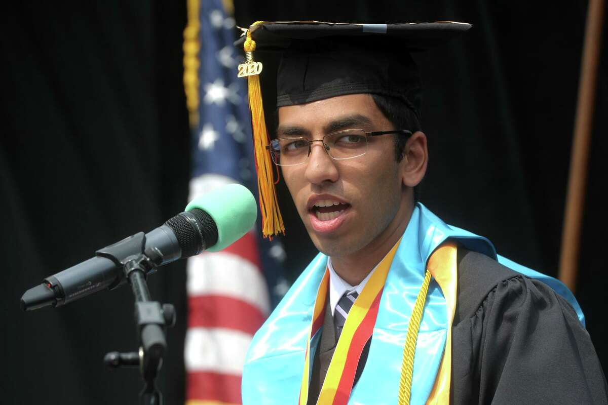 Valedictorian Siddharth Jain delivers his address Wednesday to the Shelton High School Class of 2020.