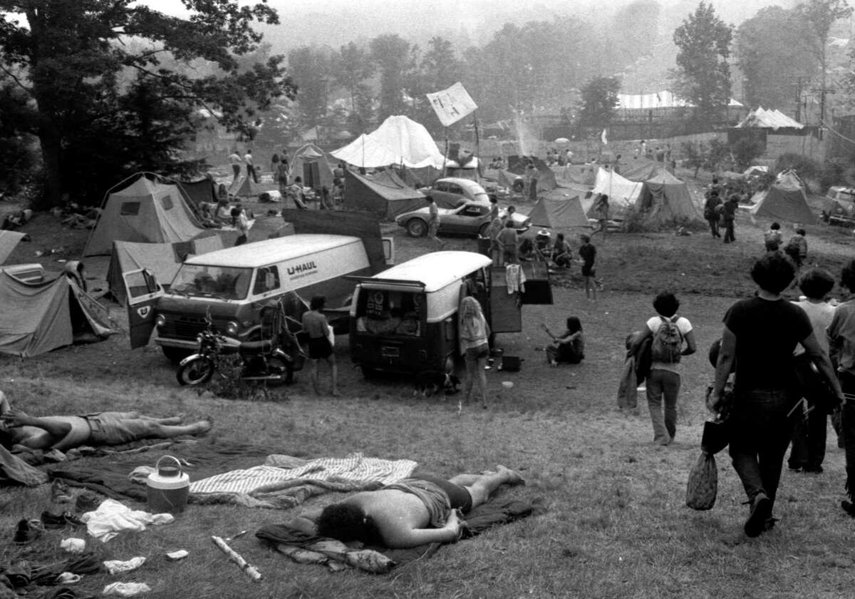"""TheNew York Daily News'original caption for the above photo: """"Campers are set up by early arrivals as Powder Ridge becomes another instant Rock City."""""""