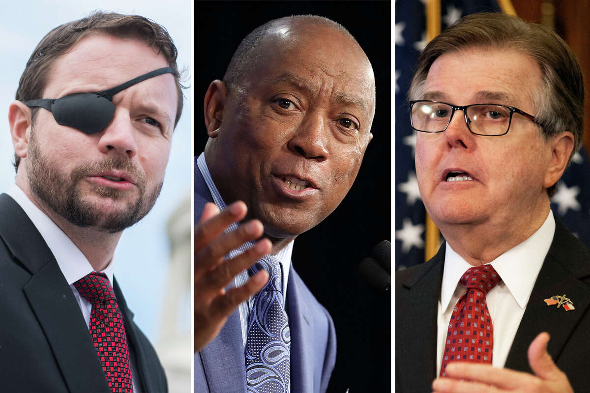 Two prominent Texas Republicans, Rep. Dan Crenshaw (left) and Lt. Gov. Dan Patrick (right), took opposing stances in response to Houston Mayor Sylvester Turner's (center) decision to cancel the in-person Texas Republican Convention.