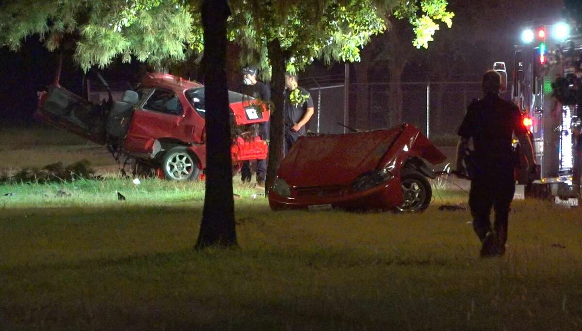 Houston police investigate a deadly crash in the 12100 block of North Houston Rosslyn Road on Wednesday, July 8, 2020.
