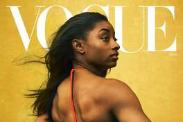 Champion gymnast Simone Biles wears a Bottega Veneta bodysuit. To get this look, try: Luminous Silk Foundation in 13, Eye & Brow Maestro in 1, Ecstasy Balm in 1. All by Armani Beauty. Hair, Nai'vasha Johnson; makeup, Fara Homidi.Photographed by Annie Leibovitz, Vogue, August 2020
