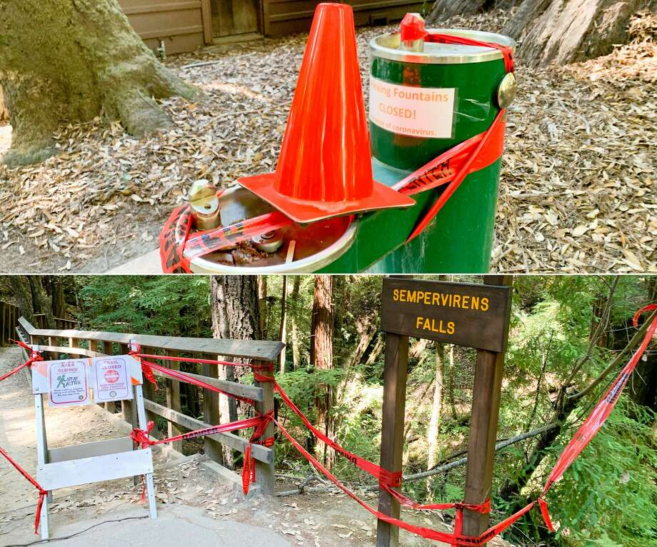 Anything that might make social distancing more of a challenge at Big Basin Redwoods State Park was taped off. Photo: Grant Marek / SFGATE