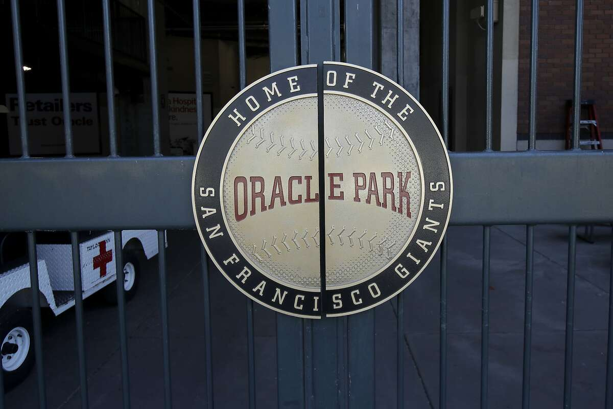 An entry to Oracle Park, home of baseball's San Francisco Giants, is shown in San Francisco, Tuesday, July 7, 2020. (AP Photo/Jeff Chiu)