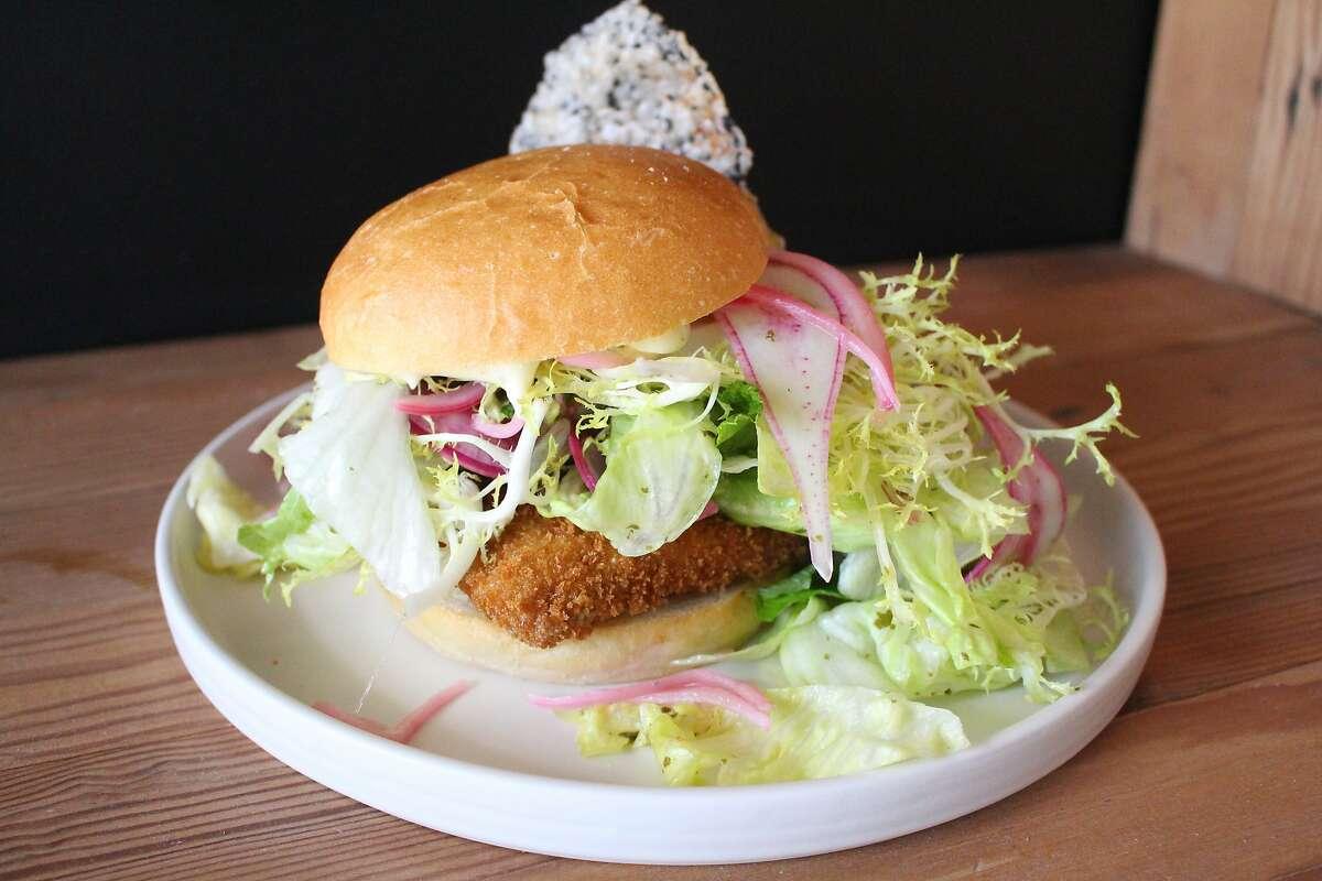 The tuna belly burger at Masabaga features deep-fried haramo from yellowfin tuna.