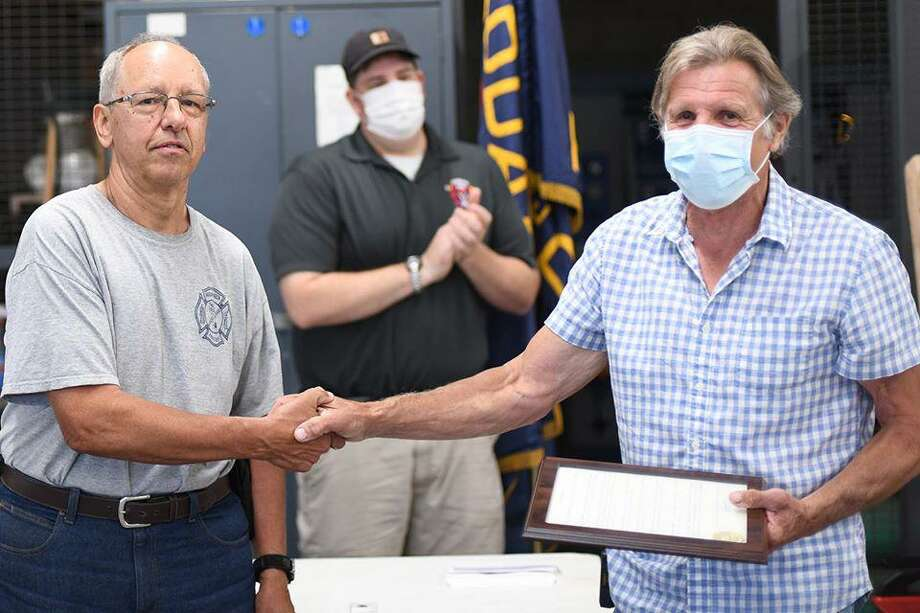 During the recent Haddam Volunteer Fire Co. monthly meeting, July 6, 2020, was declared Ron Annino Day by the town of Haddam. Photo: Olivia Drake Photo